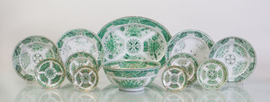 ASSEMBLED GREEN AND WHITE PORCELAIN PART DINNER SERVICE