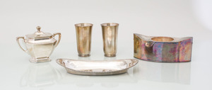PAIR OF TIFFANY STERLING SILVER CUPS, A STERLING SILVER NAVETTE DISH AND A TWO-HANDLED SUGAR BOWL