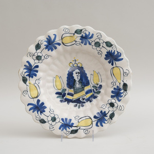 DELFT POLYCHROME LOBED BASIN, CENTERED BY BUST OF WILLIAM III