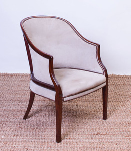 GEORGE III STYLE MAHOGANY BARREL-BACK ARMCHAIR