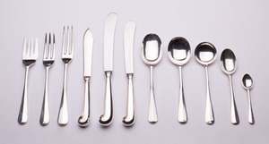 ENGLISH SILVER PART FLATWARE SERVICE