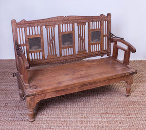 ANGLO-INDIAN CARVED TEAK CARRIAGE BENCH
