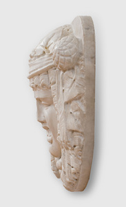 CONTINENTAL CARVED MARBLE BACCHANTE-HEAD FOUNTAIN MASK