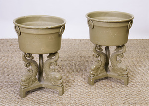 PAIR OF CONTINENTAL PAINTED CAST-IRON URN-FORM JARDINIÈRES