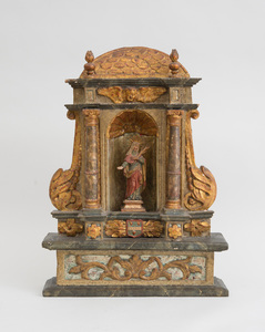 ITALIAN BAROQUE CARVED PAINTED AND GILTWOOD NICHE