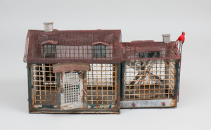 American Folk Wire and Painted Wood Animal Cage