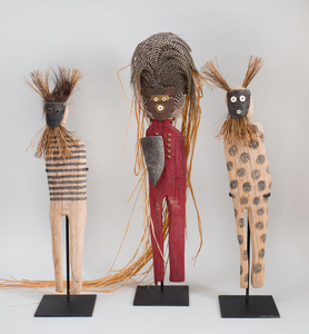 Three Carved and Painted Wood Figures of Spirit Chasers, Each Signed 'Cotter'