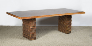 WALNUT DOUBLE-PEDESTAL DINING TABLE