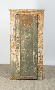 PAINTED WOOD CABINET WITH DISTRESSED FINISH