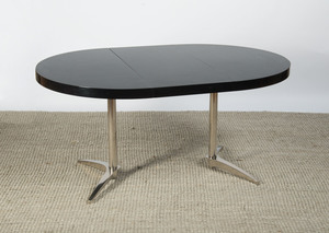 CHROME AND EBONIZED EXTENSION DINING TABLE
