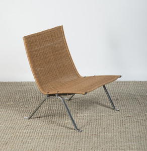 POUL KJÆRHOLM CHROME AND WICKER 'PK 22' SIDE CHAIR