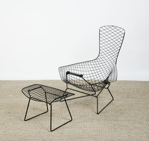 HARRY BERTOIA PAINTED WIRE 'BIRD' CHAIR AND OTTOMAN FOR KNOLL