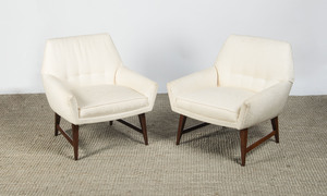 PAIR BUTTON-UPHOLSTERED AND STAINED WOOD ARMCHAIRS, IN THE STYLE OF PAUL MCCOBB