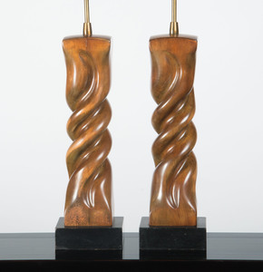 PAIR OF CARVED AND STAINED WOOD TABLE LAMPS