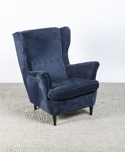 BLUE VELVET UPHOLSTERED AND EBONIZED WING CHAIR, IKEA