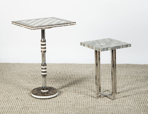 TWO HARDSTONE VENEERED AND CHROME END TABLES