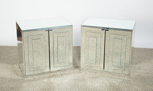 PAIR MIRRORED SIDE TABLES