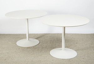 THREE CIRCULAR PAINTED METAL AND WHITE FORMICA WORK TABLES