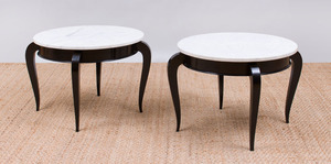 PAIR OF EBONIZED CIRCULAR SIDE TABLES WITH MARBLE TOPS