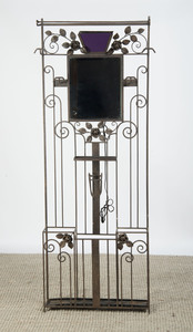 ART DECO STYLE WROUGHT-IRON AND MIRROR HALL STAND