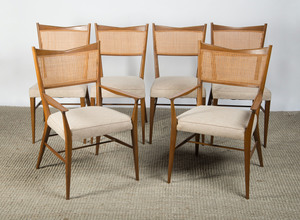 SET OF SIX PAUL MCCOBB BLEACHED MAHOGANY AND CANED DINING CHAIRS