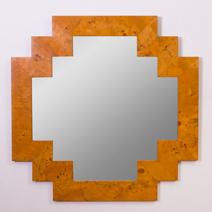 BURLWOOD FACETED MIRROR