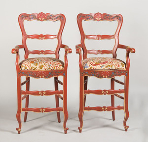 PAIR OF CONTINENTAL CARVED AND PAINTED CHAIRS