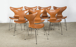 EIGHT LEATHER AND METAL CHAIRS FOR FRITZ HANSEN