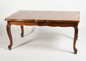 FRENCH PROVINCIAL STYLE OAK PARQUETRY-TOP DRAW-LEAF DINING TABLE