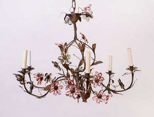 COPPER AND CUT-GLASS SIX-LIGHT CHANDELIER