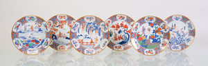 SET OF SIX JAPANESE TRANSFER-PRINTED PORCELAIN PLATES DEPICTING GEISHAS