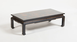 VICTORIAN BLACK JAPANNED AND PARCEL-GILT LOW TABLE