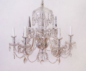 GEORGE III STYLE SIX-LIGHT CUT-GLASS CHANDELIER