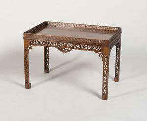 GEORGE III STYLE CARVED MAHOGANY SILVER TABLE