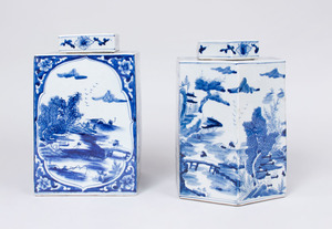 TWO CHINESE BLUE AND WHITE PORCELAIN JARS AND COVERS