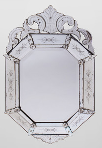 VENETIAN BAROQUE STYLE GLASS MIRROR, MODERN