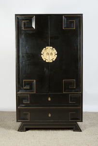 MODERN CHINESE STYLE GILT-METAL MOUNTED EBONIZED ARMOIRE