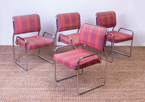 SET OF FOUR CHROME CANTILEVER SIDE CHAIRS
