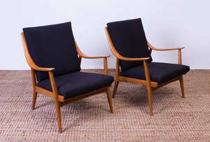 PAIR OF BEECHWOOD ARMCHAIRS