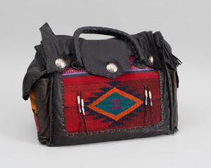 Southwest Style Carpet Fragment-Mounted Leather Handbag