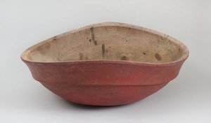 Large Red Stained Wood Bowl