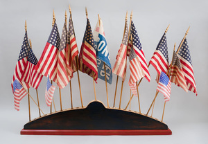 Painted Wood Flag Display Base with Eighteen Flags