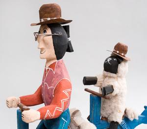 Four Folk Art Painted Wood Figure Groups