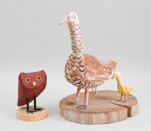 Painted Wood Figure of a Red Owl and a Painted Wood Group of a Duck With Ducklings