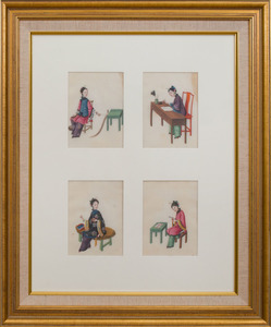 EIGHT CHINESE EXPORT PAINTINGS ON PITH PAPER OF LADIES IN PURSUITS