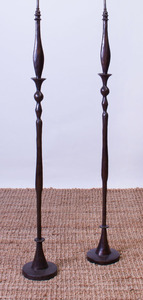 PAIR OF BRONZE FLOOR LAMPS, IN THE STYLE OF ALBERTO GIACOMETTI