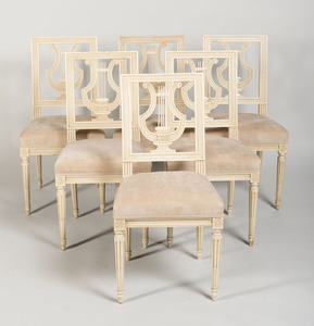 SET OF SIX LOUIS XVI STYLE WHITE PAINTED CHAISES