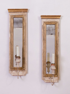 PAIR OF CONTINENTAL NEOCLASSICAL STYLE PAINTED AND PARCEL-GILT SCONCES