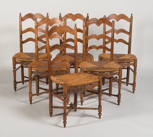 SET OF SIX FRENCH PROVINCIAL FRUITWOOD AND RUSH SIDE CHAIRS