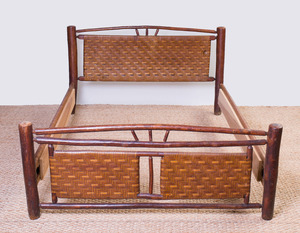 RUSTIC REEDED AND STAINED WOOD BED